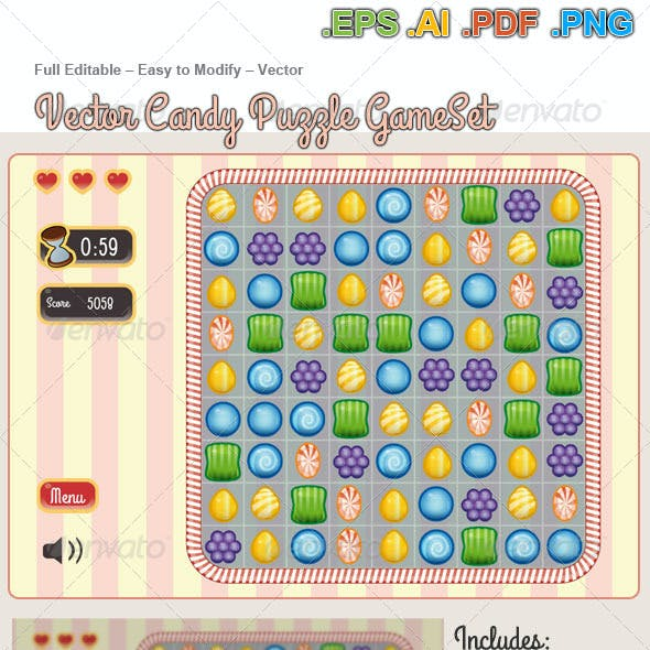 Vector Candy Puzzle Game  KIT