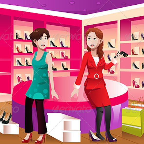 Two Women Buying Shoes