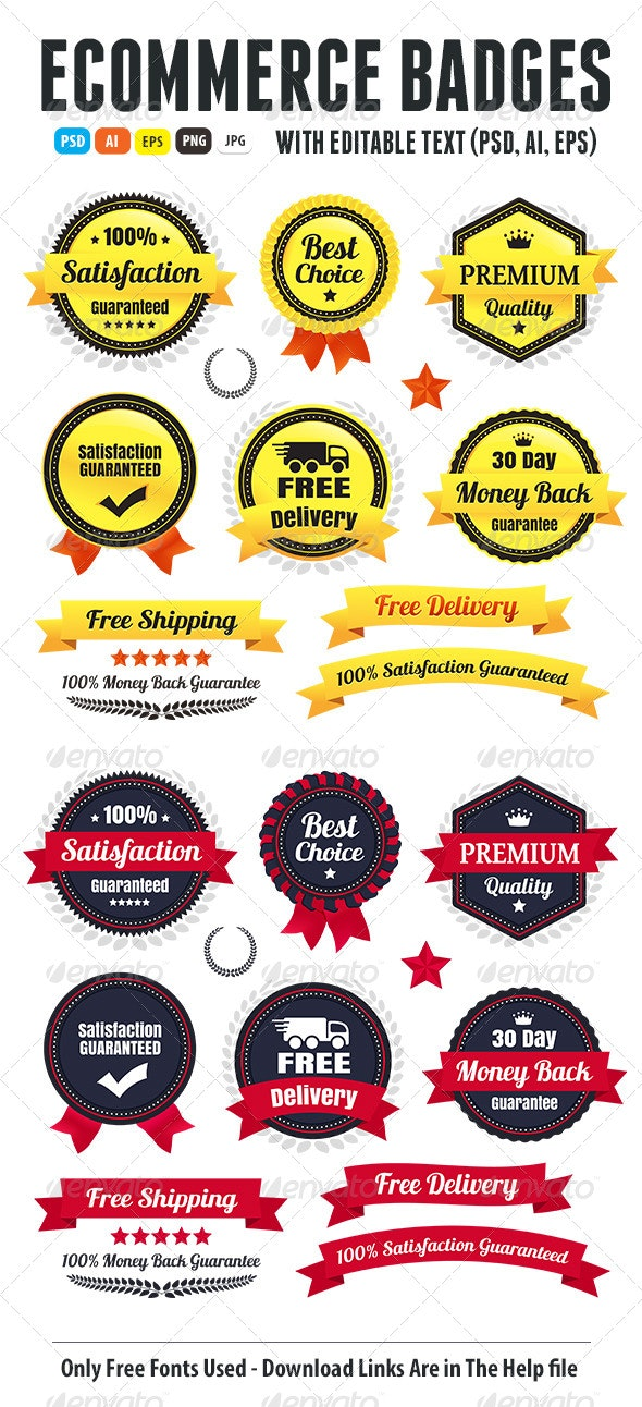 Premium Quality Ecommerce Badges - Badges & Stickers Web Elements