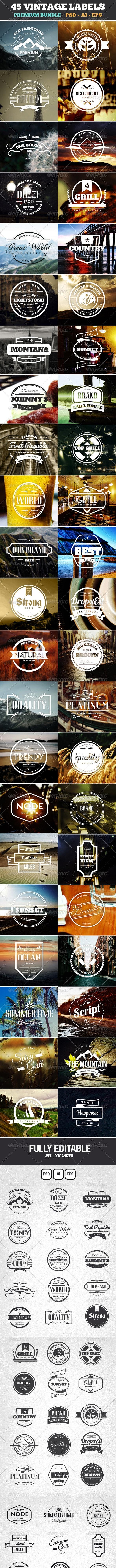45 Vintage Labels & Badges Logos Bundle - Badges & Stickers Web Elements
