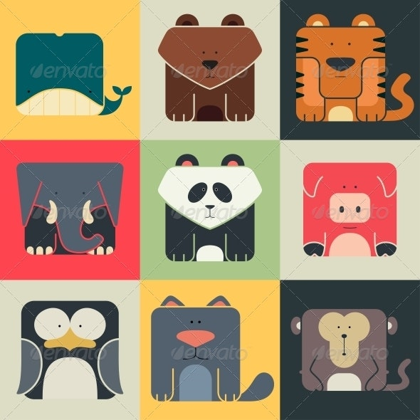 Flat Set of Square Animal Icons - Animals Characters