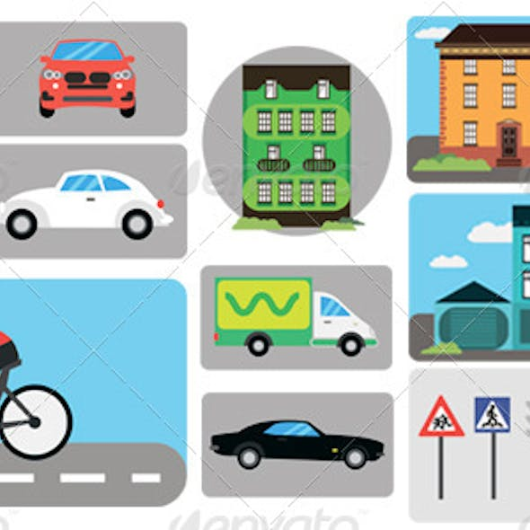 City Infographics, Building, Car, Traffic Signs