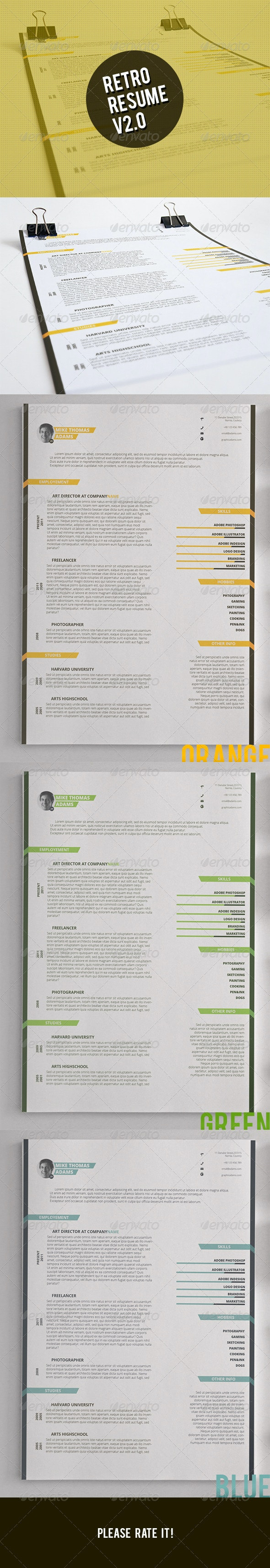 Retro Resume V2.0 - Resumes Stationery