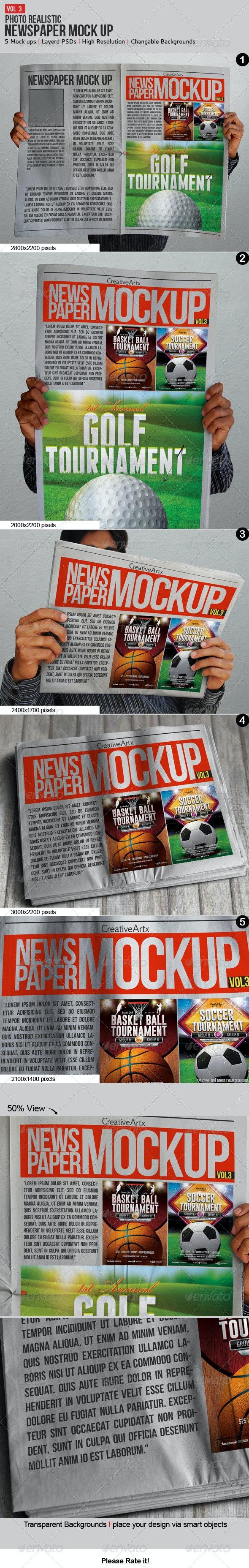 Newspaper / Newsletter Mock-Up - V.3 - Product Mock-Ups Graphics