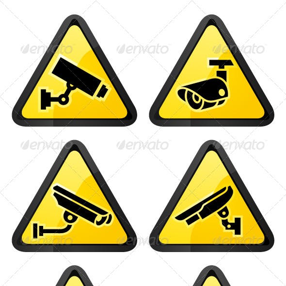 Six Video Surveillance Symbols, Triangular Shape