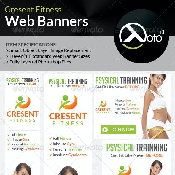 Cresent Fitness Health Web Banners