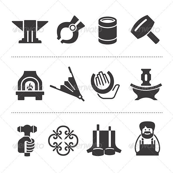 Set Of Blacksmithing Icons
