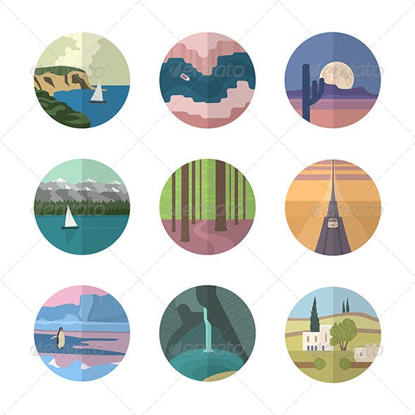 Landscapes Icons Collection