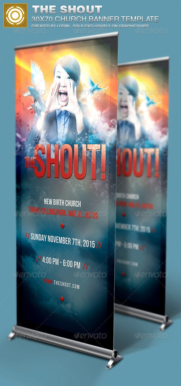 The Shout Church Banner Signage Template - Signage Print Templates
