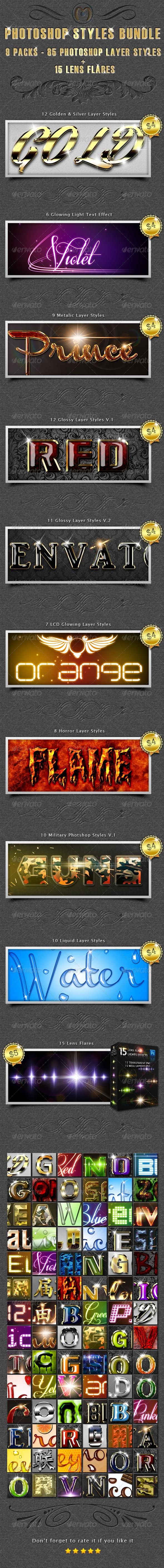 85 Photoshop Styles Bundle - Text Effects Styles