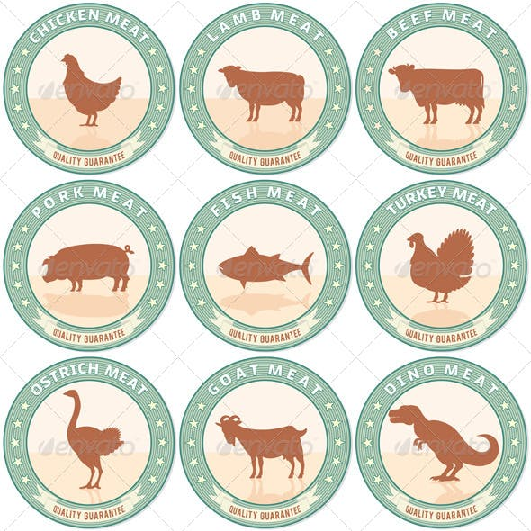 Meat Labels with Farm Animal Icons