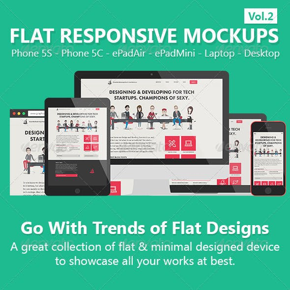Flat Responsive Screen Mockups V.2