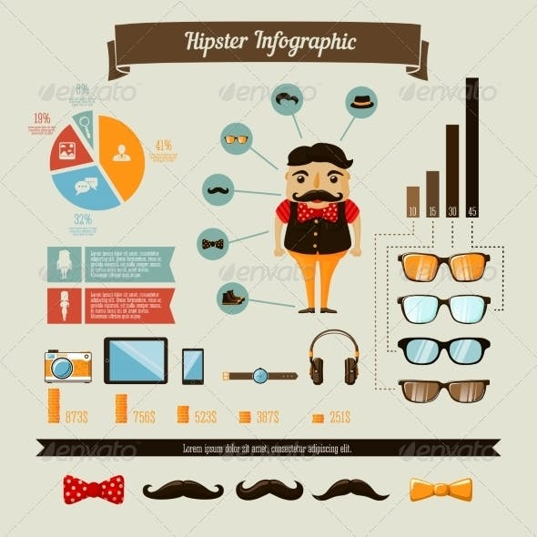 Hipster Infographics Elements Set with Geek Boy