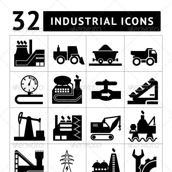 Set of Industrial Icons Isolated on White