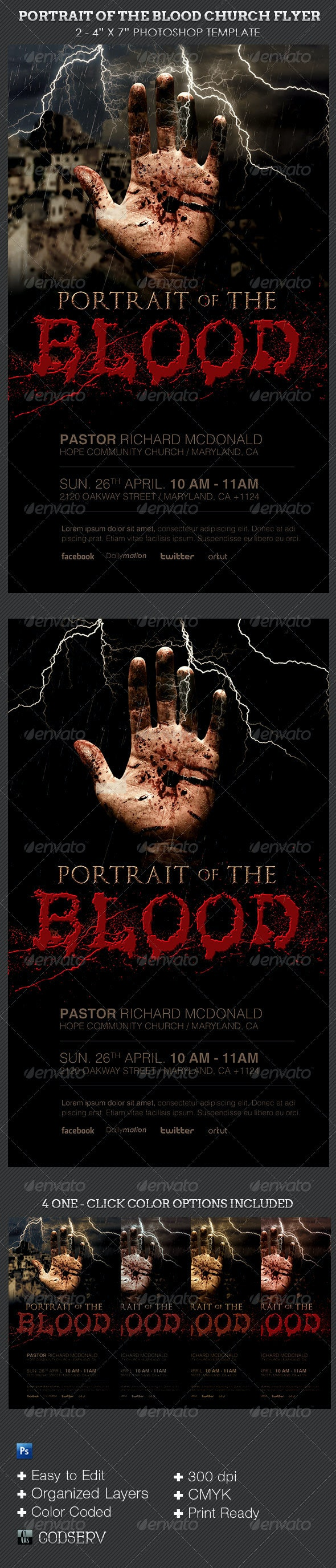 Blood Portrait Church Flyer Template - Church Flyers