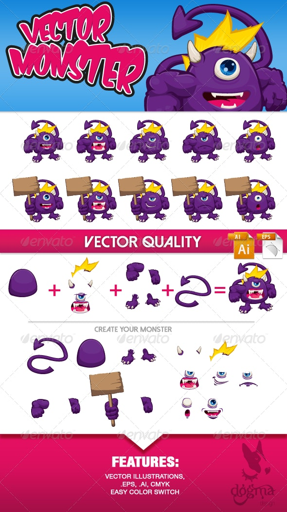 Vector Monster Character Kit - Monsters Characters