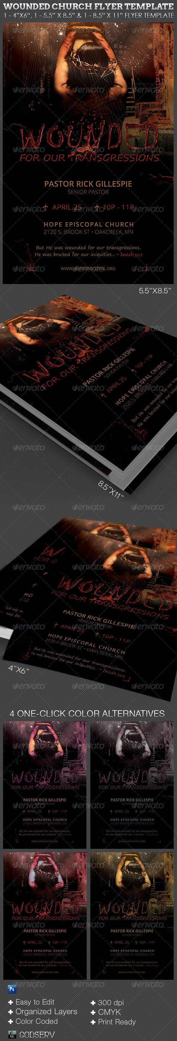 Wounded Church Flyer Template - Church Flyers