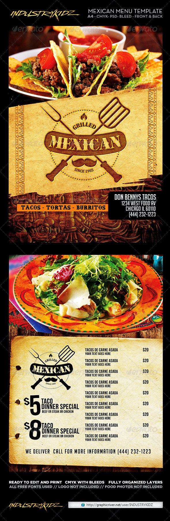 Mexican Restaurant Menu Template - Food Menus Print Templates
