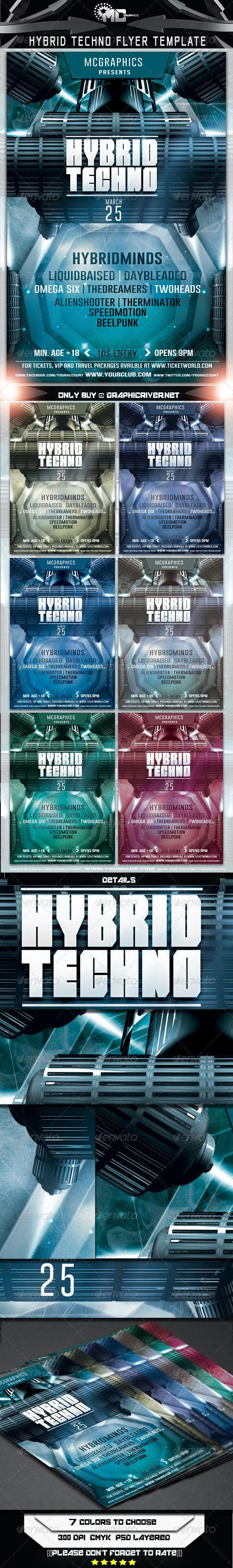 Hybrid Techno Flyer Template - Flyers Print Templates