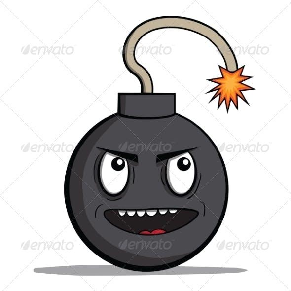 Evil Cartoon Bomb Ready to Explode