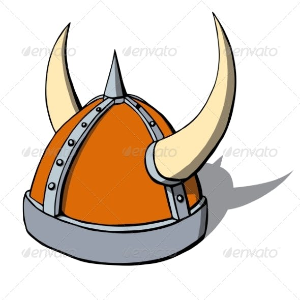 Cartoon Viking Helmet with Horns