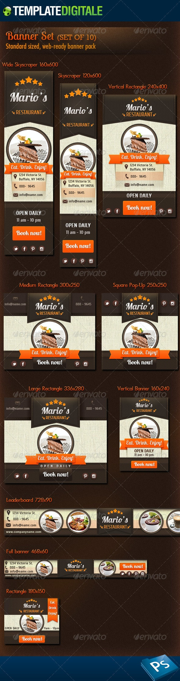 Restaurant and Coffee Banner Set - Banners & Ads Web Elements