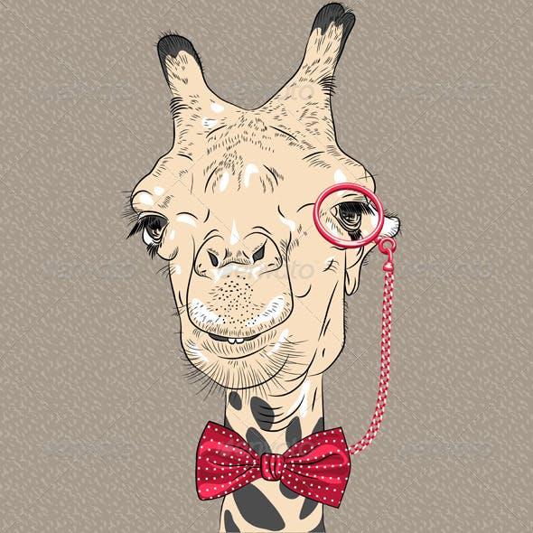 Closeup Portrait of girafe Hipster