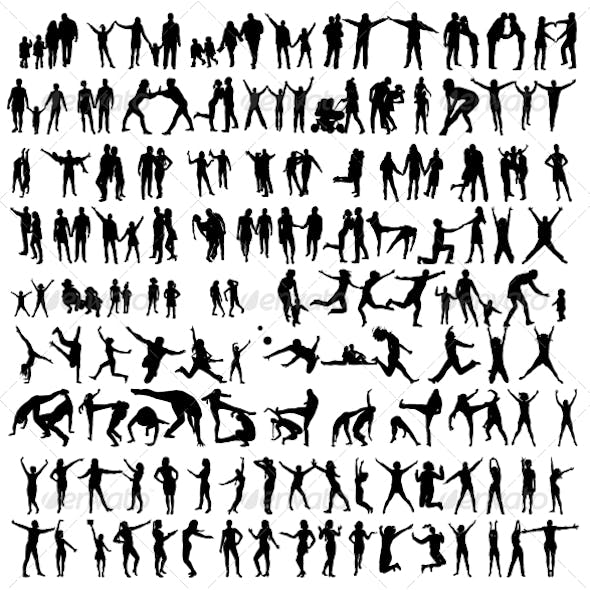 Happy Family Silhouettes . Jumping People