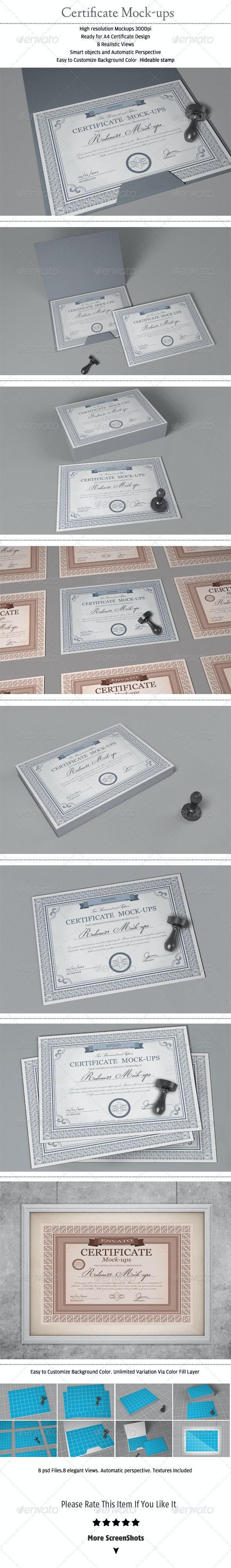 Certificate mock-ups - Stationery Print
