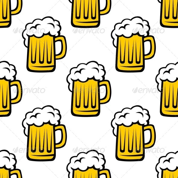 Seamless Pattern of Tankards with Frothy Beer
