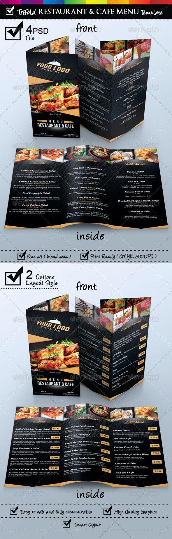 Trifold Restaurant & Cafe Menu Template - Food Menus Print Templates