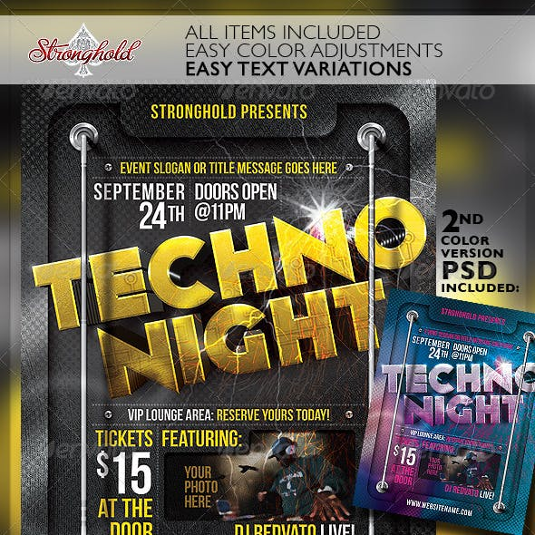 Techno Night Club Party Flyer Template