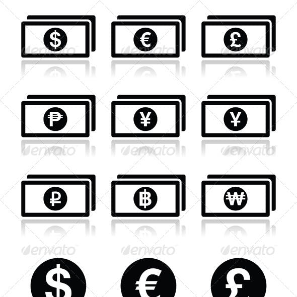 Currency Exchange Symbols - Bank Notes and Coins i