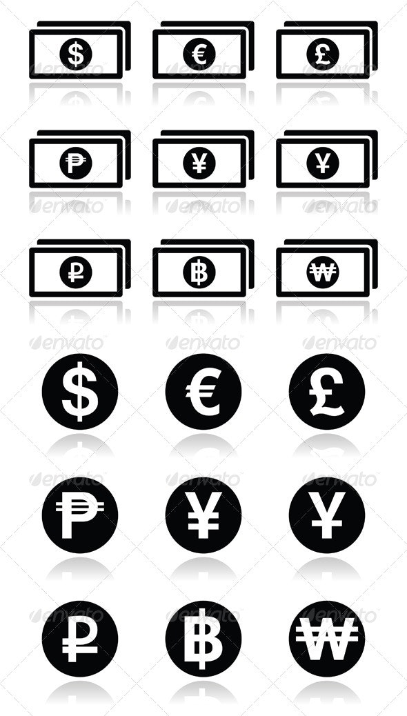 Currency Exchange Symbols - Bank Notes and Coins i - Business Conceptual