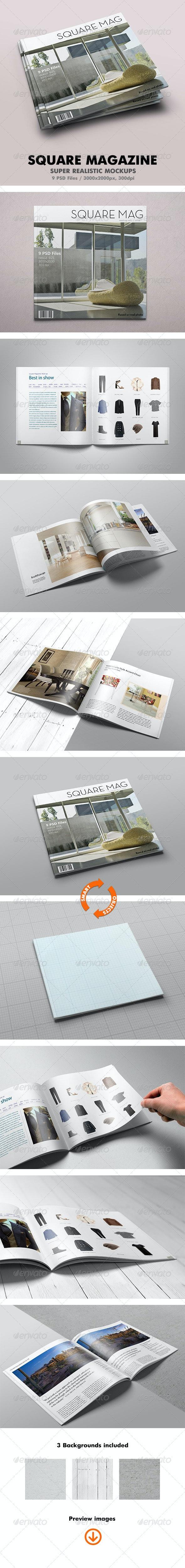 Square Magazine Mock-Up - Magazines Print