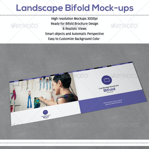 Landscape Bifold Brochure Mock-Up