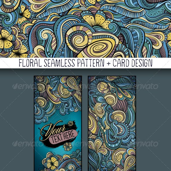 Decorative Floral Pattern and Card Design