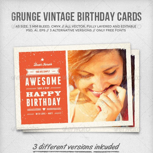 Grunge Vintage Birthday Cards