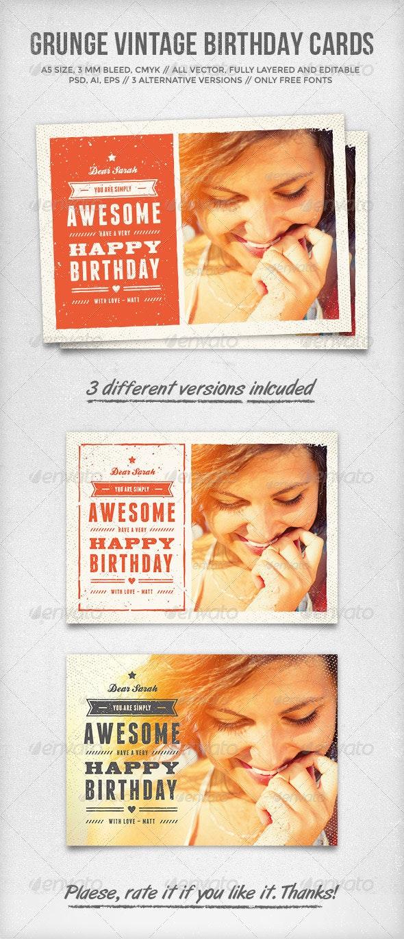 Grunge Vintage Birthday Cards - Birthday Greeting Cards