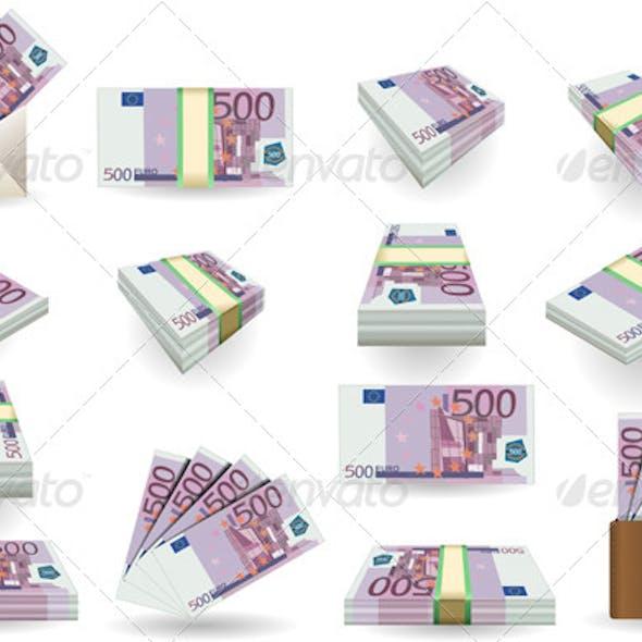 Full Set of Five Hundred Euros Banknotes