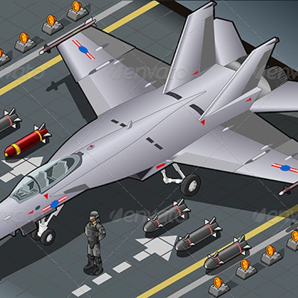 Isometric Fighter Bomber in Front View