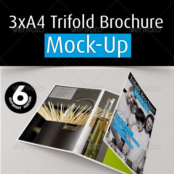 3xA4 Trifold Brochure Mockup