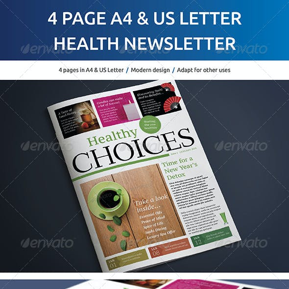 4 Page A4 and US Letter Healthy Living Newsletter