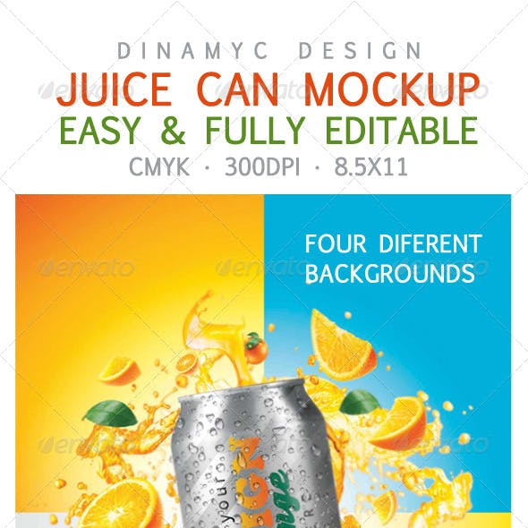 Design for Orange Juice with Mockup Tin Can