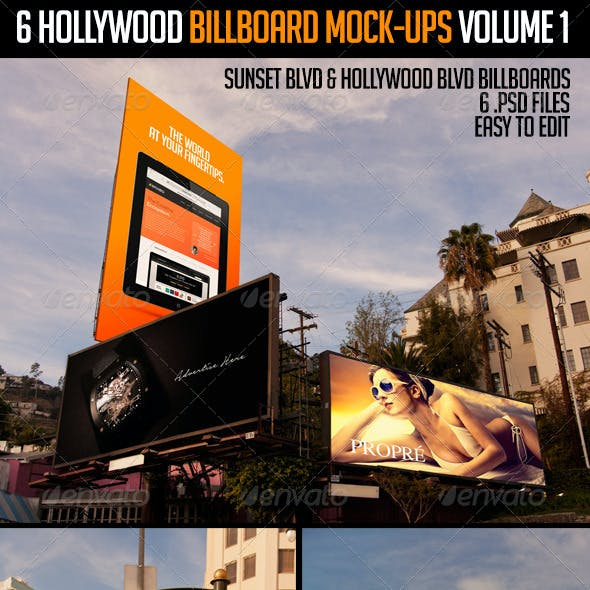6 Hollywood Billboard Mock-Ups Volume 1