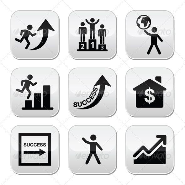 Success in Business, Self Development Buttons Set