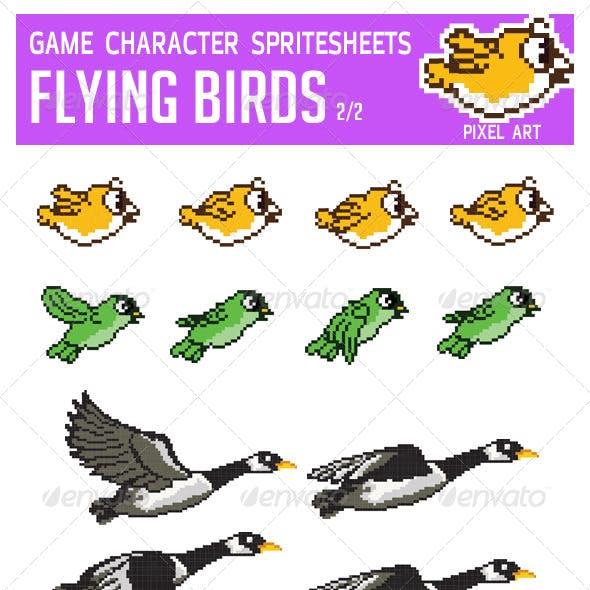 Flying Bird Game Character Pixel Art Sprite