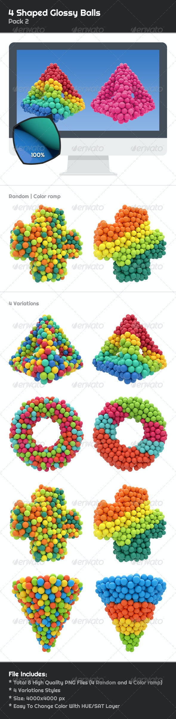 4 Shaped Glossy Balls Pack 2 - 3D Renders Graphics