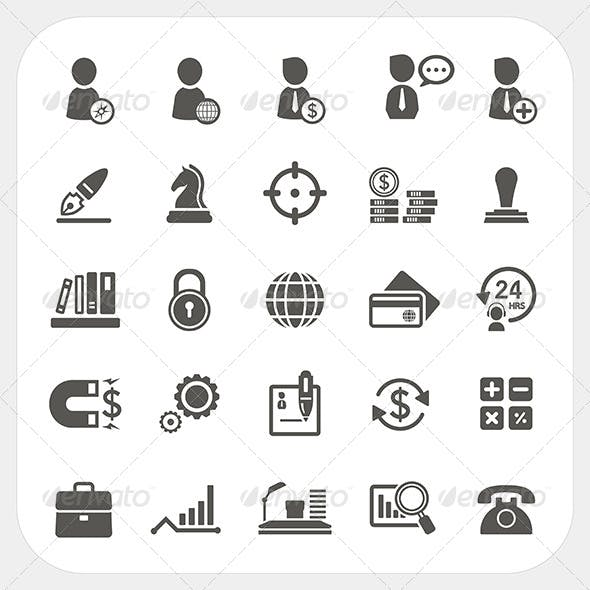 Business Human Resource and Finance Icons Set
