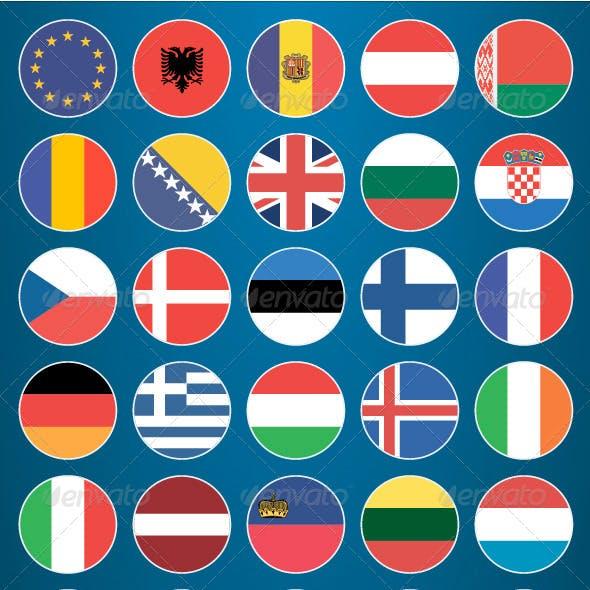 Flat Flag Icons Europe